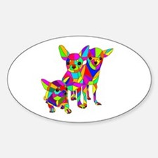 3 Colored Chihuahuas Sticker (Oval)