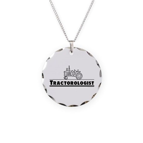 Funny Tractor Necklace Circle Charm