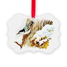 Cute Nuthatch Picture Ornament