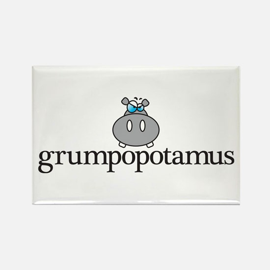 Grumpy Hippo Rectangle Magnet