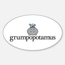 Grumpy Hippo Sticker (Oval)