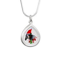 Bluetick Coonhound Silver Teardrop Necklace