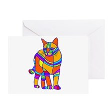 Stripped Cat Greeting Card