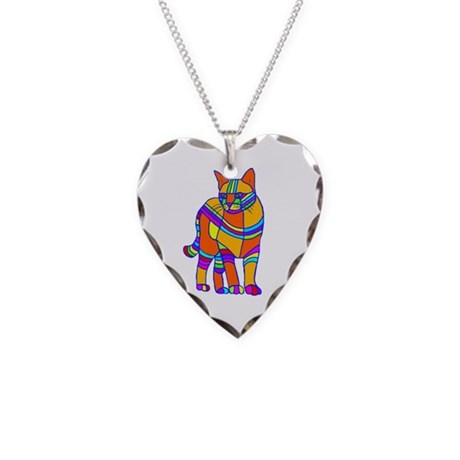 Stripped Cat Necklace Heart Charm