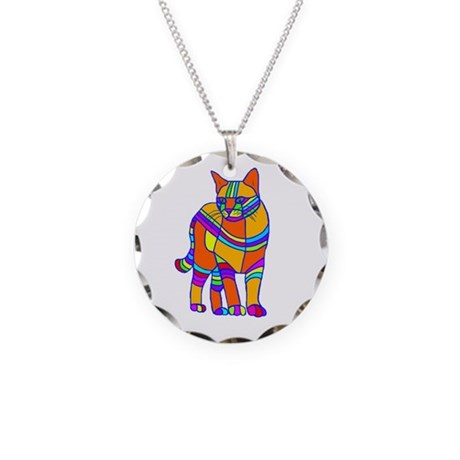 Stripped Cat Necklace Circle Charm