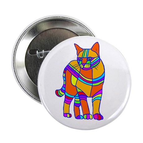 """Stripped Cat 2.25"""" Button"""