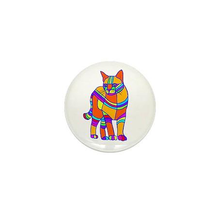 Stripped Cat Mini Button