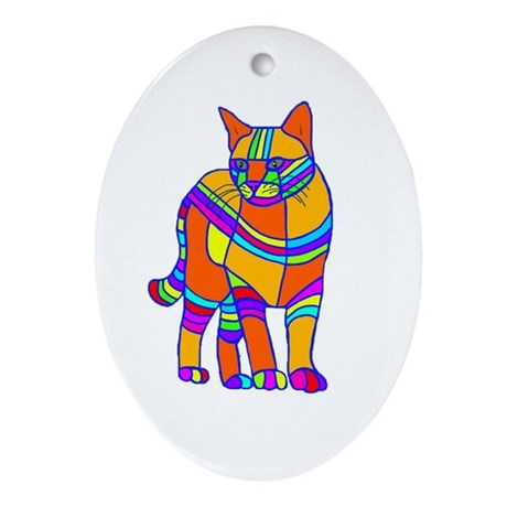 Stripped Cat Ornament (Oval)