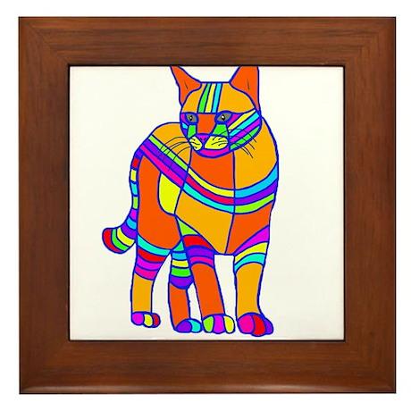 Stripped Cat Framed Tile