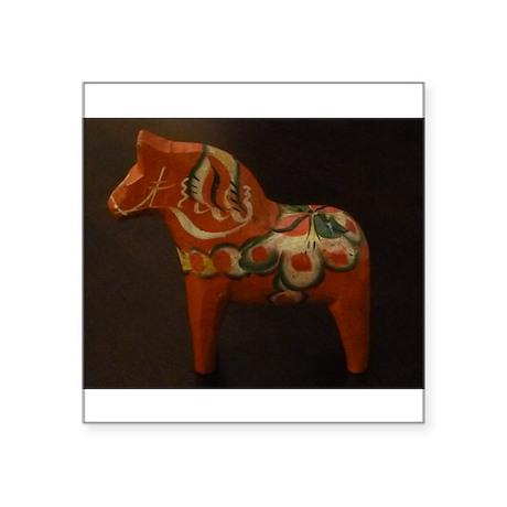 """Dala Horse Foundation Square Sticker 3"""" x 3"""""""