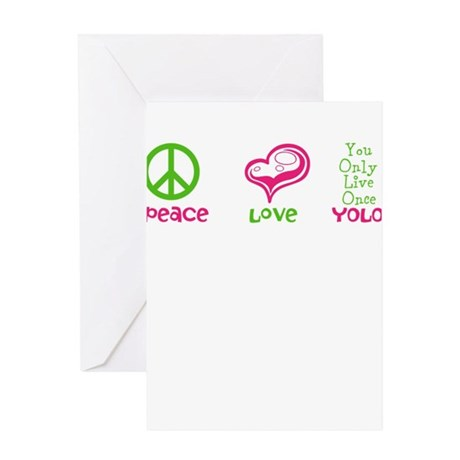 Peace, Love, Yolo Greeting Card