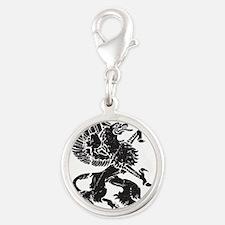 Griffin (Grunge Texture) Silver Round Charm