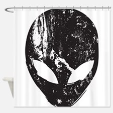 Alien Head (Grunge Texture) Shower Curtain
