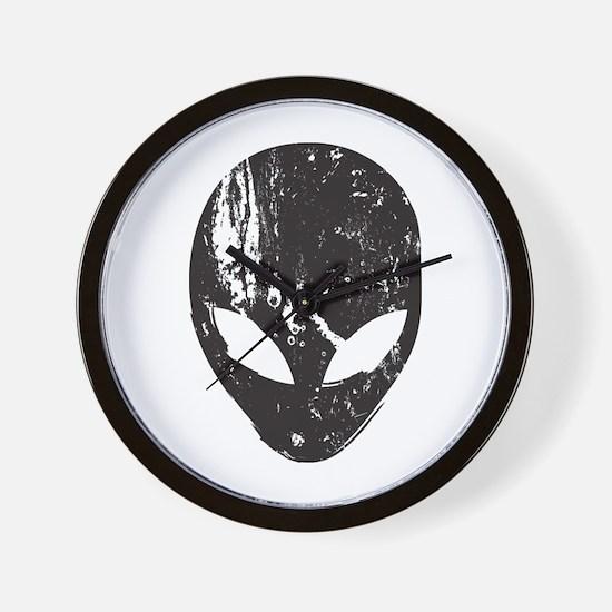 Alien Head (Grunge Texture) Wall Clock