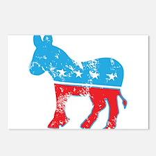 Democrat Donkey (Grunge Texture) Postcards (Packag