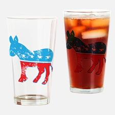 Democrat Donkey (Grunge Texture) Drinking Glass