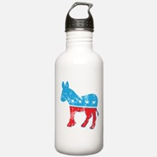 Democrat Donkey (Grunge Texture) Water Bottle