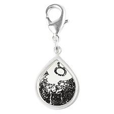 8 Ball Silver Teardrop Charm