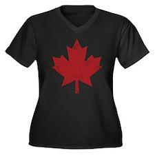 Maple Leaf Women's Plus Size V-Neck Dark T-Shirt