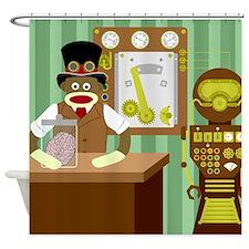 Sock Monkey Steampunk Scientist Shower Curtain