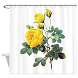 Floral yellow Shower Curtains