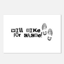 Will Hike For Cache Postcards (Package of 8)