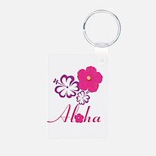 Pink Hibiscus Aloha Keychains