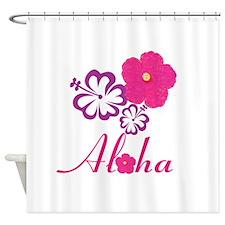 Pink Hibiscus Aloha Shower Curtain