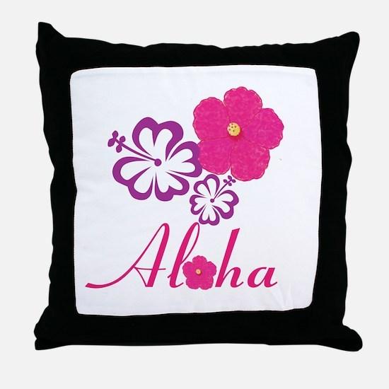 Pink Hibiscus Aloha Throw Pillow