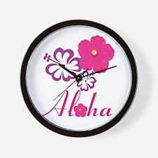 Pink Hibiscus Aloha Wall Clock