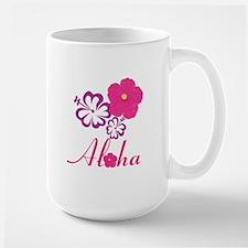 Pink Hibiscus Aloha Large Mug