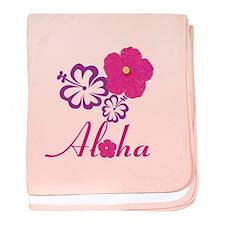 Pink Hibiscus Aloha baby blanket