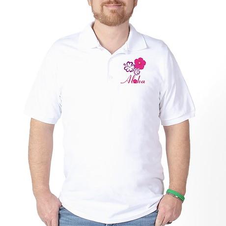 Pink Hibiscus Aloha Golf Shirt