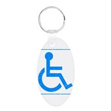 Disabled Aluminum Oval Keychain