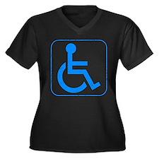 Disabled Women's Plus Size V-Neck Dark T-Shirt