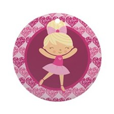 Cute Ballerina Dancer Ornament (Round)