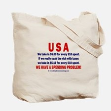 2 sides: Spending & Tea Tote Bag