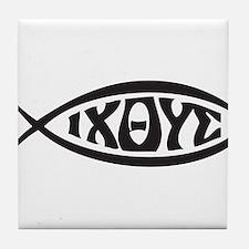 Jesus Fish IXOYE Tile Coaster