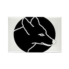 Black Coyote Rectangle Magnet