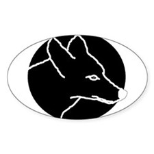 Black Coyote Oval Decal