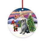Santa Takes Off -Giant Schnauzer Ornament (Round)