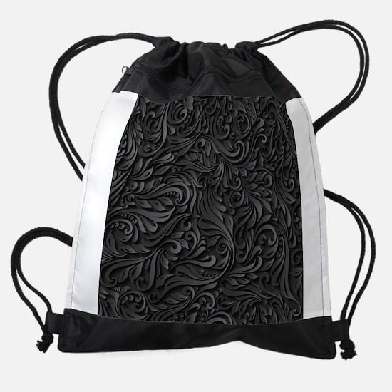 Black Flourish Drawstring Bag