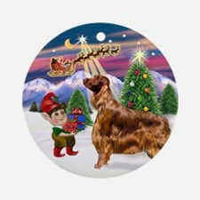 Santa's Take Off & Irish Setter Ornament (Round)