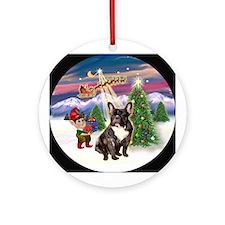 Santa's Take Off & French BD (br) Ornament (Ro