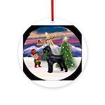 Santa Takes Off - Giant Schnauzer Ornament (Round)