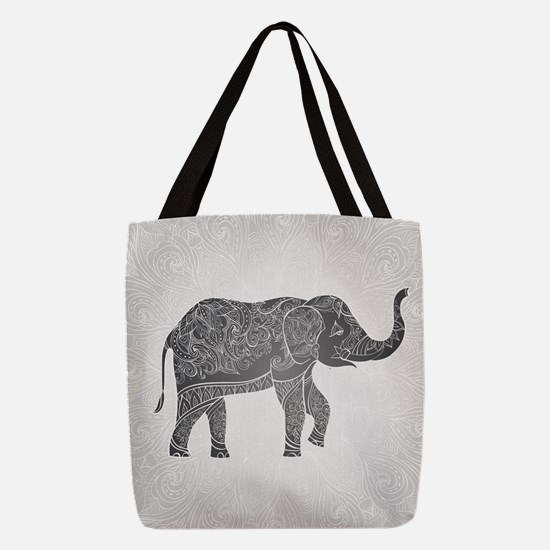 Indian Elephant Polyester Tote Bag