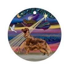 Xmas Star & Irish Setter Ornament (Round)