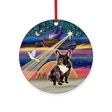 Xmas Star & French BD (br) Ornament (Round)