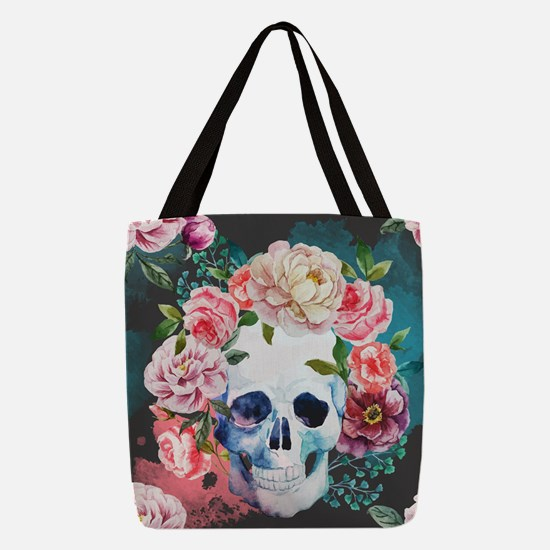 Flowers and Skull Polyester Tote Bag
