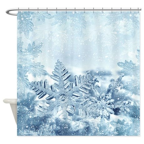 Snowflake Crystals Shower Curtain